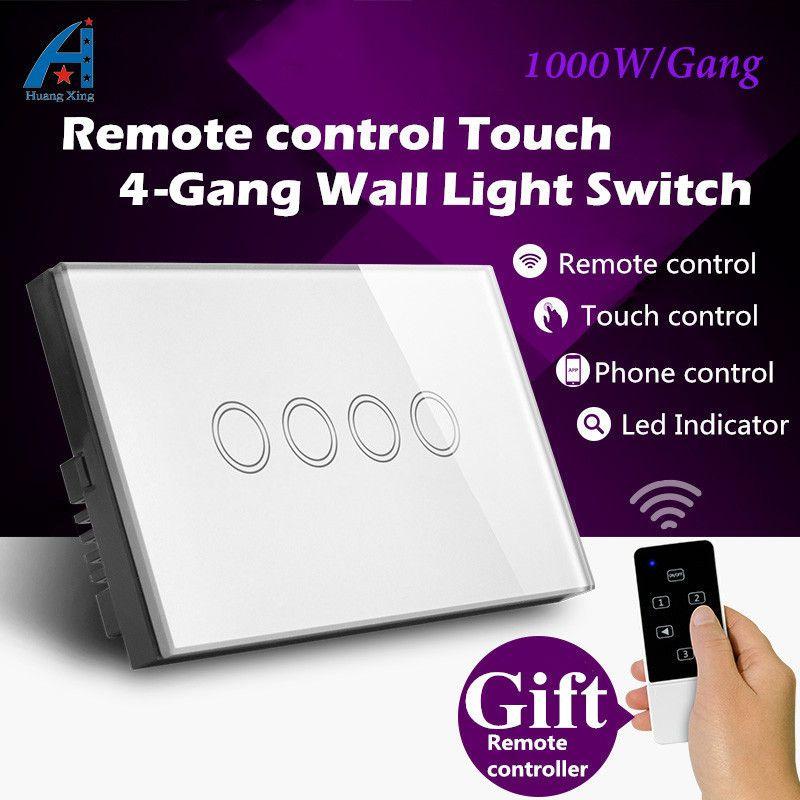 UA/US Standard, Nouvelle 1000 w Panneau Verre Cristal sans fil télécommande interrupteur de lumière, 4 Gang 1 façon 240 v Interrupteur Tactile Swtich Mur