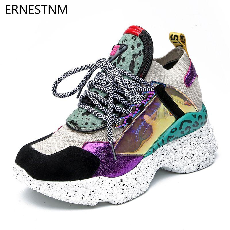ERNESTNM 2019 nouvelles baskets femmes 35-42 plate-forme blanc baskets crin chaussures bottes décontractées respirant doux femme Chunky chaussures