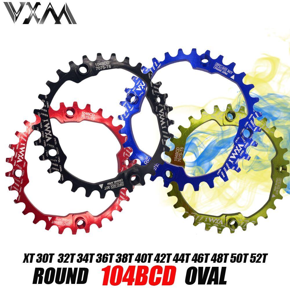 VXM vélo 104BCD manivelle ovale ronde 30 T 32 T 34 T 36 T 38 T 40 T 42 T 44 T 46 T 48 T 50 T 52 T roue à chaîne large étroite vtt vélo plateau