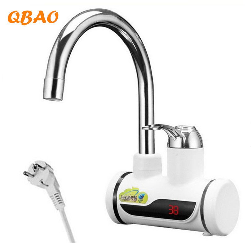 Kitchen Tankless Water Heater 220V <font><b>3000W</b></font> Electric Faucet Hot Boiler Water Electric Heating Tap Element with Temperature Display