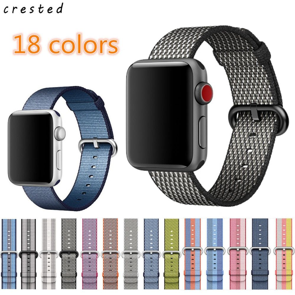 CRESTED New arrival Nylon strap band for apple watch band 42 mm 38 mm sport bracelet &  fabric nylon watchband for iwatch 1/2/3