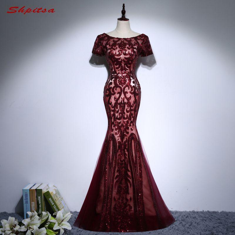 Sexy Burgundy Long Mermaid Evening Dresses Party Sequin Women Formal Evening Gowns Dresses Wear robe de soiree longue