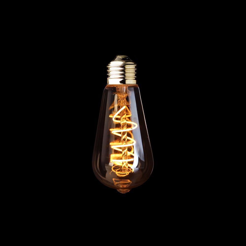 ST64 Ambre Forme, 3 W Dimmable Edison LED Souple Filament Ampoule, Super chaud 2200 K, E26 E27 Base, Décoratifs pour la Maison Éclairage
