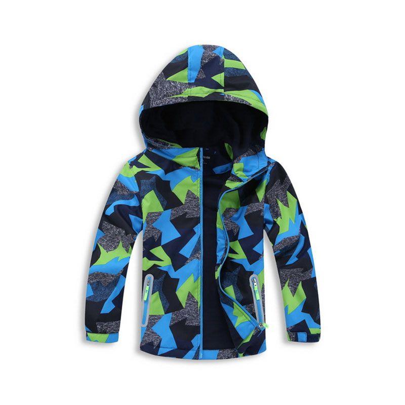 3-12years Обувь для мальчиков Демисезонный куртка кардиган с капюшоном флис пальто камуфляж Повседневное верхняя одежда подросток студент Тре...