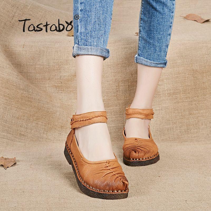Tastabo Main appartements chaussures 2017 Printemps Vintage Femmes Confortables En Cuir Véritable Femmes Chaussures bout rond lady conduite chaussures