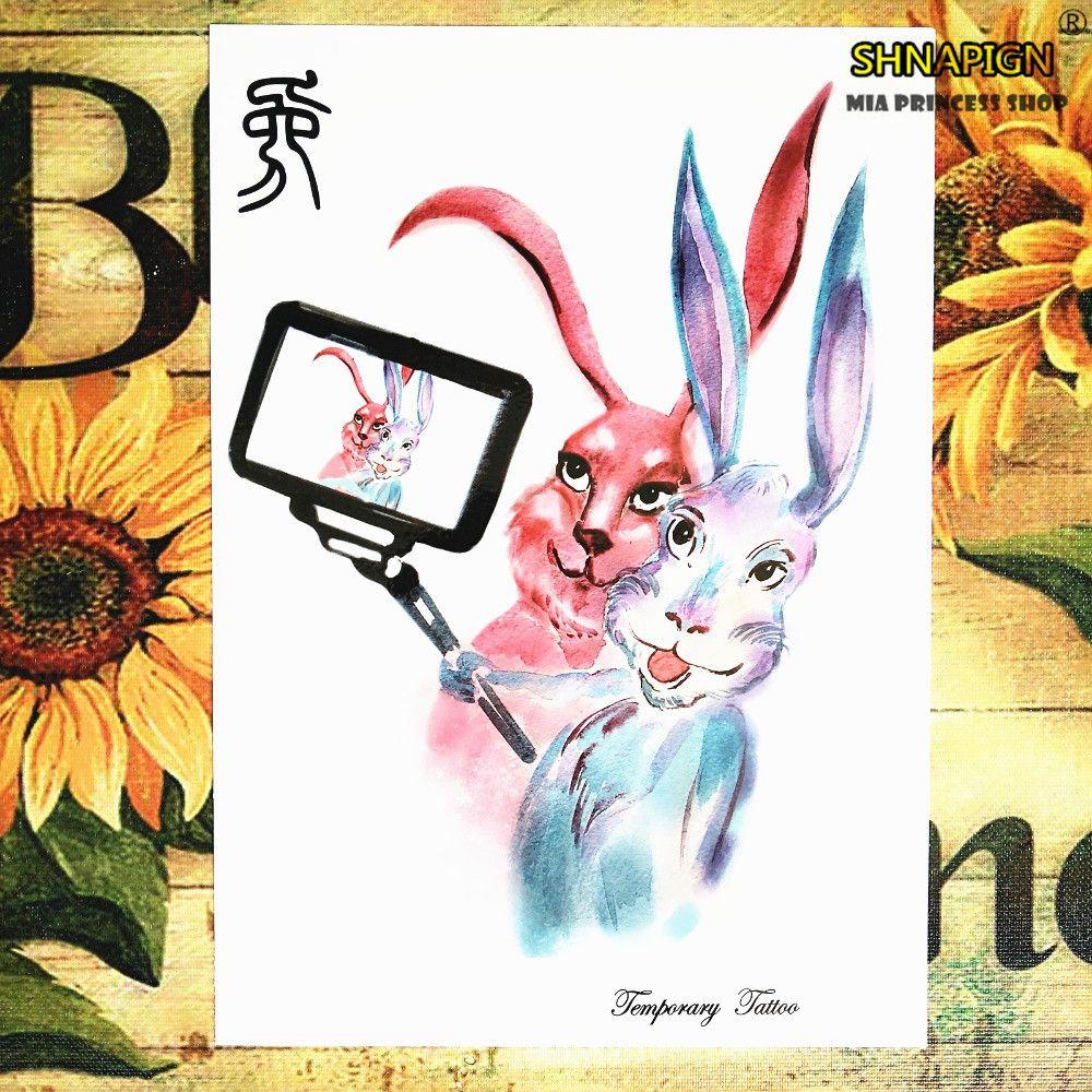 SHNAPIGN Rabbit Chinese New Year 12 Zodiac Animals Temporary Body Art,Flash Tattoo Stickers 21*15cm Waterproof Henna Sex Product