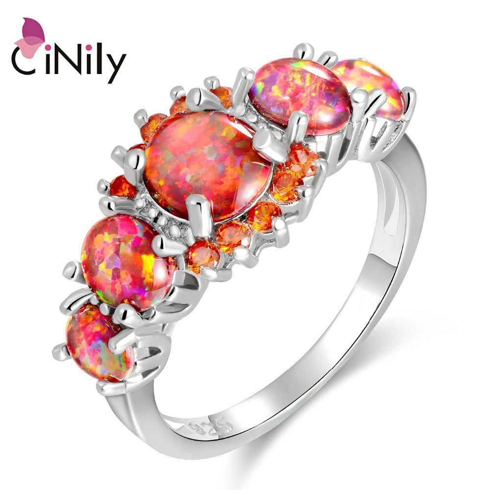 CiNily Lavish Orange Fire Opal Stone Rings Silver Plated Round Garnet Finger Ring Bohemia BOHO Spring Jewelry Gift Woman Female