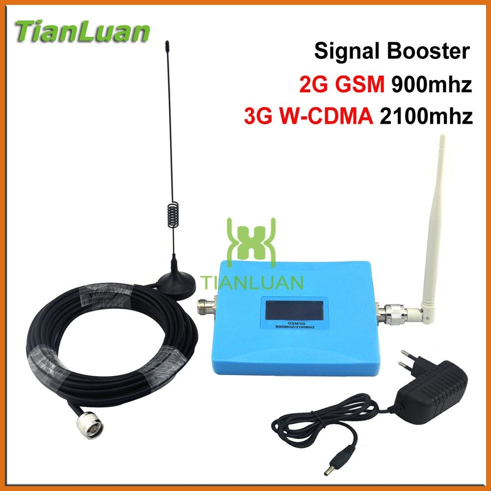 TianLuan Smart GSM 900Mhz W-CDMA UMTS 2100MHz Cell Phone Signal Booster Dual Band 2G 3G Signal Repeater with Sucker Antenna Blue
