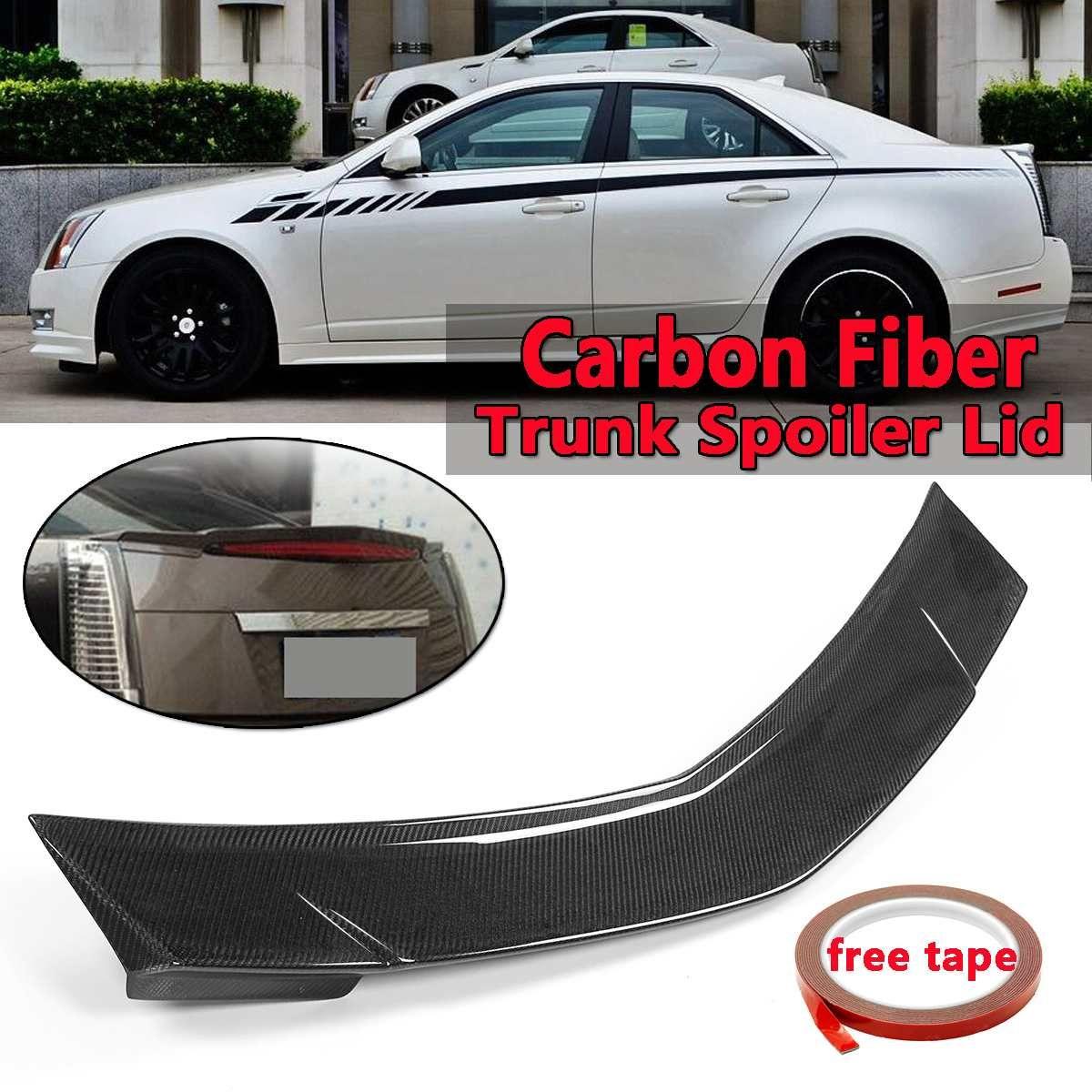 Auto Real Carbon Fiber Hinten Stamm Spoiler Deckel Flügel Für Cadillac CTS Limousine 2008-2013 Hinten Flügel Spoiler Hinten stamm Dach Flügel