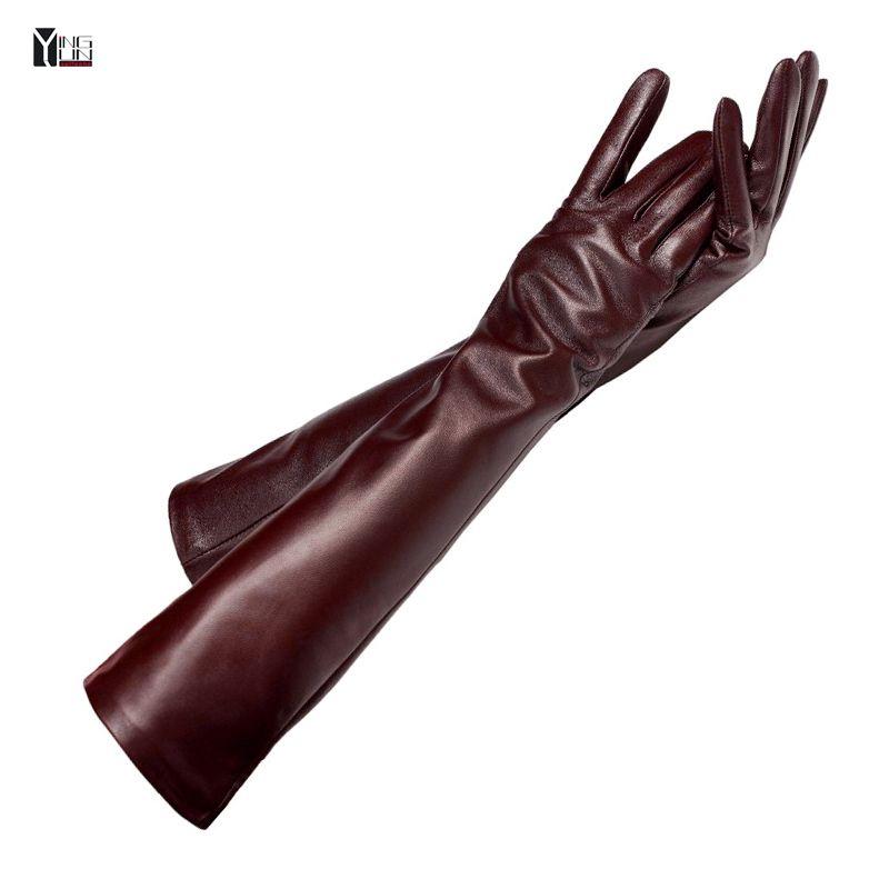 Livraison gratuite 2018 hiver lady mode en peau de mouton en cuir gants femmes mitaines en cuir véritable femelle longue styleArm manches zp001