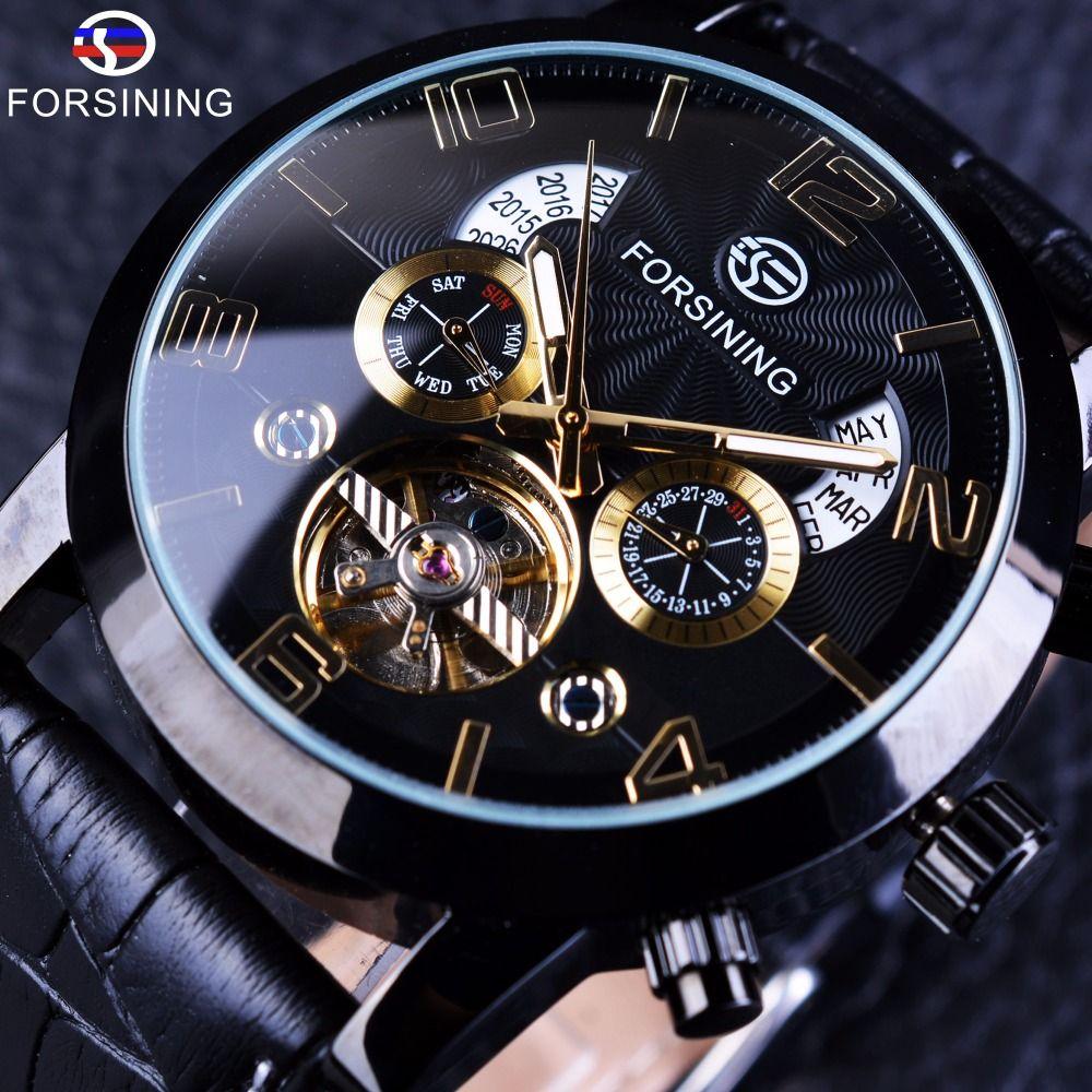 Forsining Tourbillion mode vague noir doré horloge Multi fonction affichage hommes automatique mécanique montres Top marque de luxe