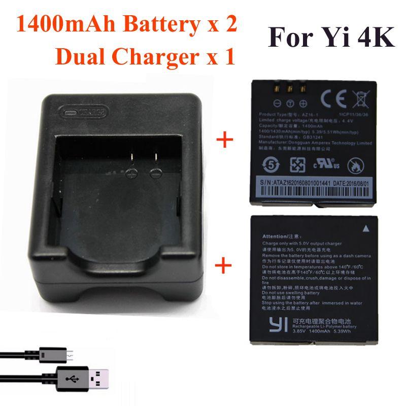 Pour Xiaomi Yi 4K 4K + Yi lite, 1400Mah 2 pièces Batterie + Xiao Yi 2 Chargeur De Batterie Double Pour Sport Yi 4K Caméra D'action Accessoires