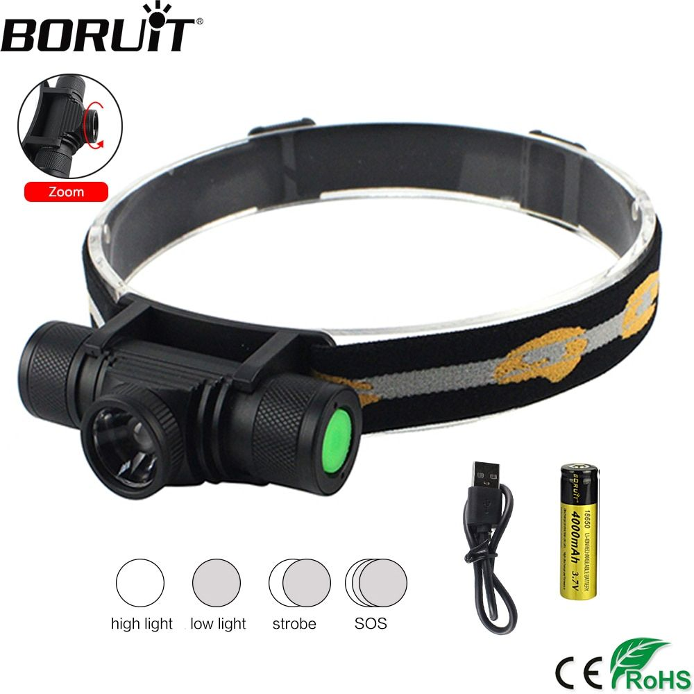 BORUiT D20 XM-L2 LED Headlight 4-Mode Zoomable Headlamp USB Charger Head Torch Fishing Camping Flashlight by 18650 Battery