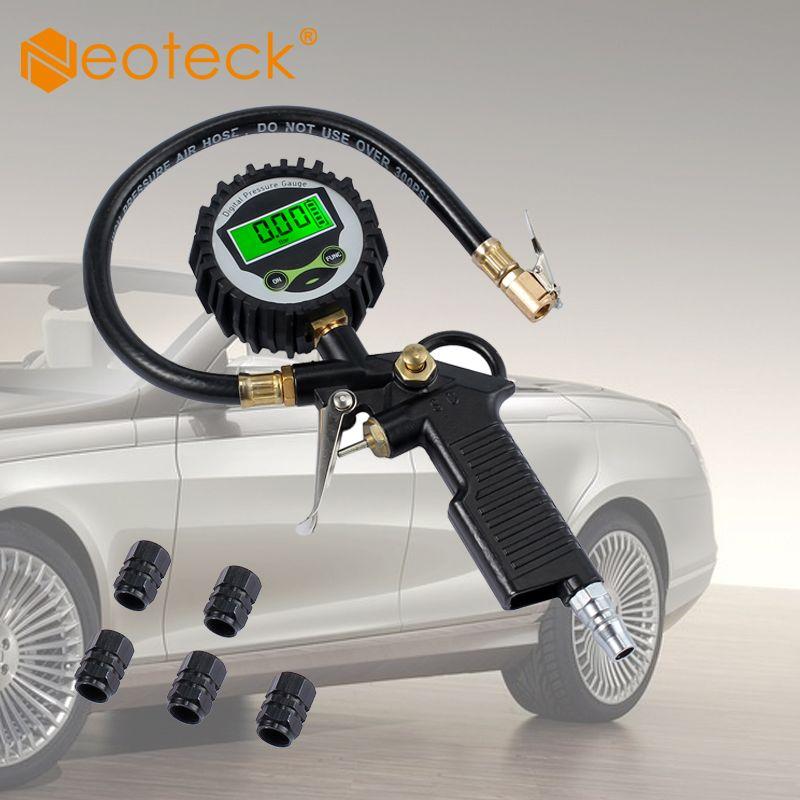 Digital Tire Pressure Gauge Tire Inflator Gauge 200 PSI with 5 Black Plastic Valve Caps For Car Truck Motorcycle Dial Meter