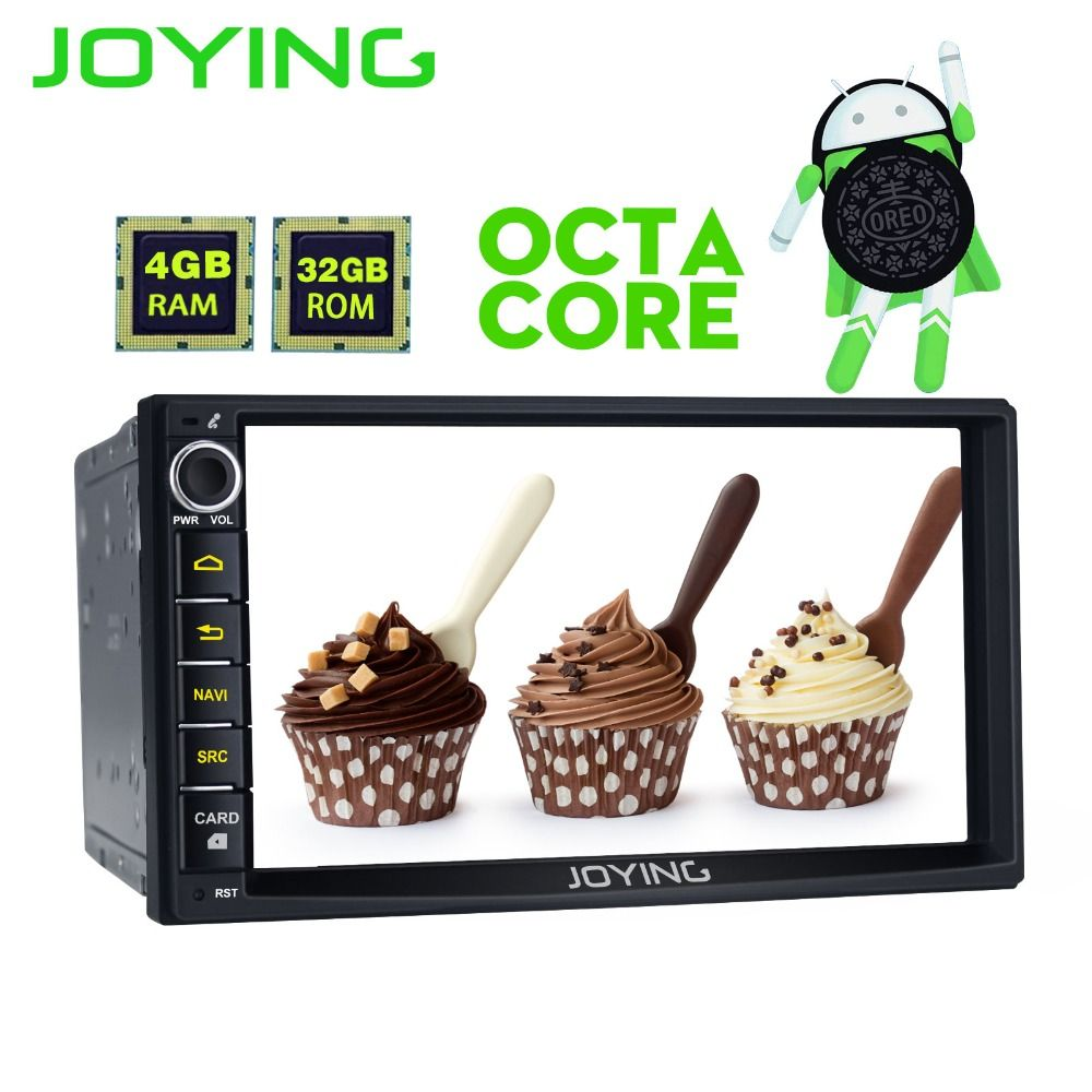 Joying 2 Din Head Unit 4GB RAM Android 8.0 Universal Car Radio Stereo GPS Multimedia Player Tape Recorder Support OBD2 Carplay