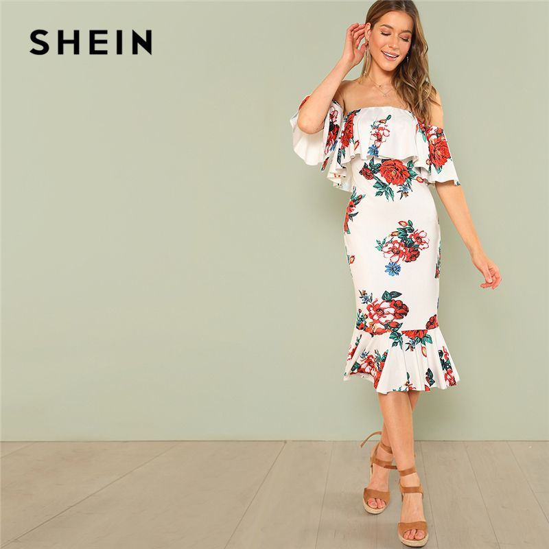 SHEIN Multicolor Party Flounce Layered <font><b>Neck</b></font> Floral Print Off the Shoulder Ruffle Short Sleeve Dress Summer Women Going Out Dress