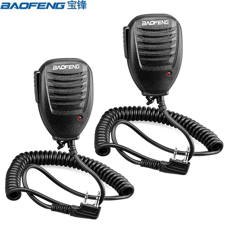 2pcs PTT Speaker Microphone Walkie Talkie MIC Accessories For Kenwood For Baofeng Bf-888S UV-5R Retevis RT5R H777 Two Way Radio