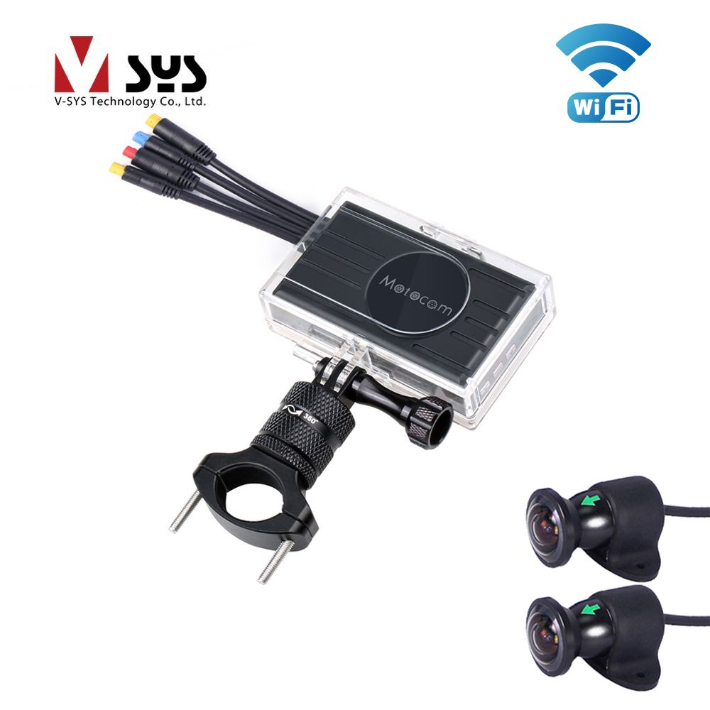 VSYS 2CH Car Dash Cam WiFi Dual 1080P Front and Rear View 170 Degree Wide Angle Cameras For Motorcycle DVR Recording System