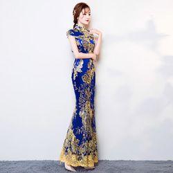 Baru Cina Tradisional Gaun Cheongsam wanita Ramping Bordir Sequin Modern Oriental Qipao Panjang Evening Dresses