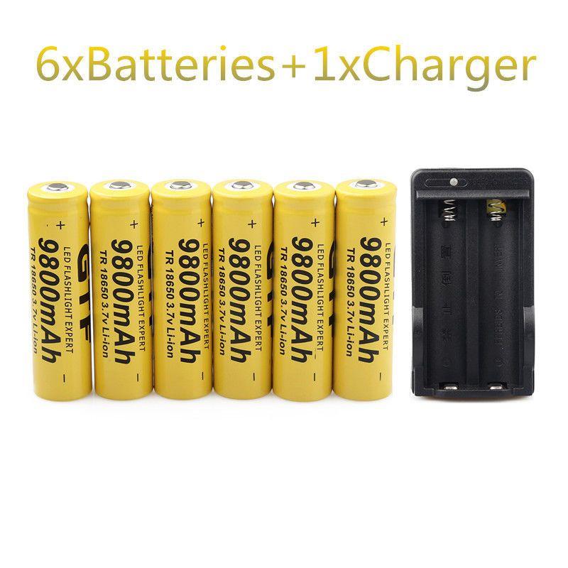 GTF 6 STÜCKE 3,7 V 18650 Batterien 9800 mAh Li-Ion Akku Für Taschenlampe + EU Ladegerät
