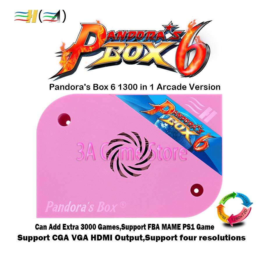 Pandora Box 6 1300 in 1 jamma board Arcade pcb for arcade machine can add extra 3000 games support FBA MAME PS1 game 3d tekken
