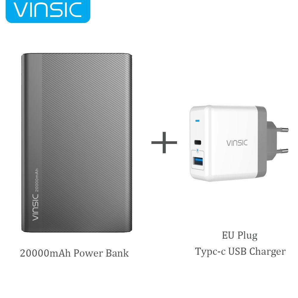 Vinsic 20000 mah Power Bank 5 v/3A Typ-C Dual Smart USB Externe Batterie Ladegerät für iPhone X Samsung S9 Xiaomi Mi8 HUAWEI P20