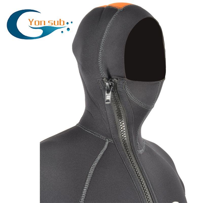 5MM Full Body Men Diving Suit one piece Wetsuit Long Sleeve Warmth Sunblock Wetsuit Headgear Men's Sportswear for Men
