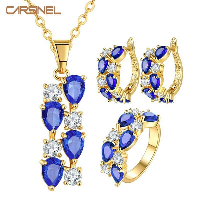CARSINEL Gold-color Wedding Jewelry Sets with AAA Blue Cubic Zircon Necklace/Earrings for Women High Quality Bridal Jewelry