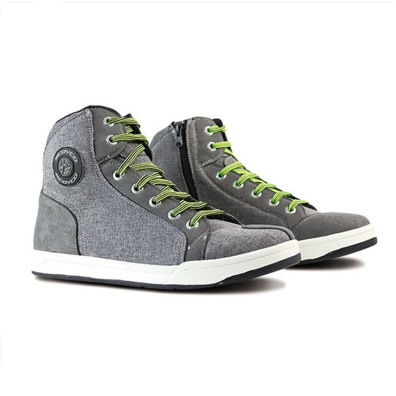 SCOYCO Motorcycle Boots Men Road Street Gray Casual Shoes Bato Motocross Boots Breathable Moto Protective Gear Breathable Flax