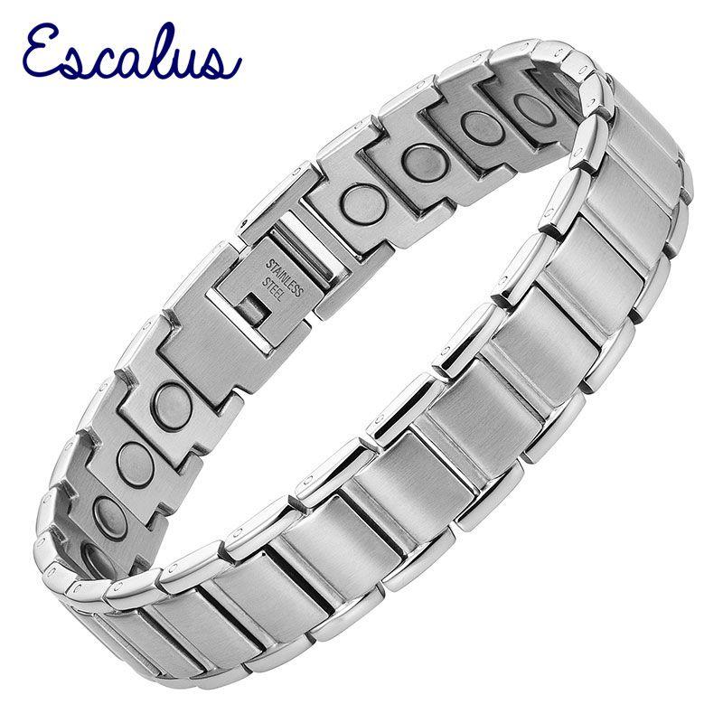 Escalus magnétique couleur argent hommes Bracelet en acier inoxydable aimants charme Bracelet santé Bio bijoux messieurs Bracelet