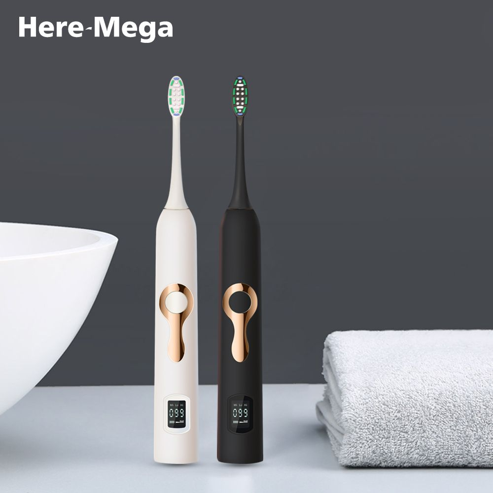 HERE-MEGA Intelligent LCD Sonic Electric Toothbrush Maglev Induction Third Gear Adjustment Intelligent Whitening Toothbrush 608