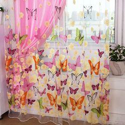 Тюлевая вуаль с принтом бабочки, балконные занавески для гостиной