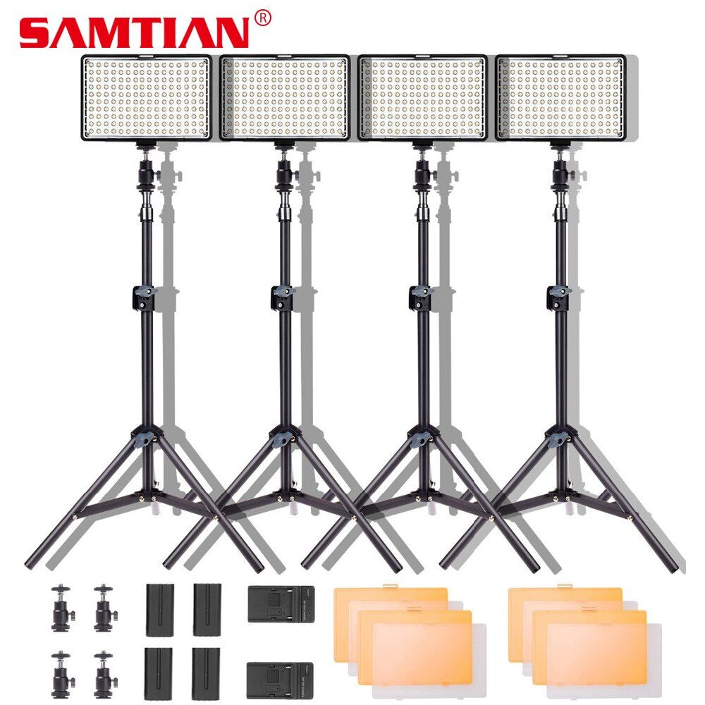 SAMTIAN LED Video Light 4 in 1 Photography Lighting Kit 160 LED Camera Studio Photo Video Light Lamp For Nikon Canon DSLR Camera