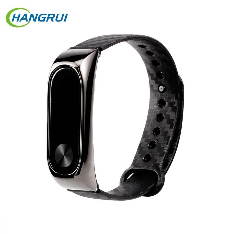 Hangrui Carbon Fiber Mi Band 2 Strap For Mi Band 2 Colorful Silicone Mi Band 3 Strap Bracelets Replacement Smart Accessories