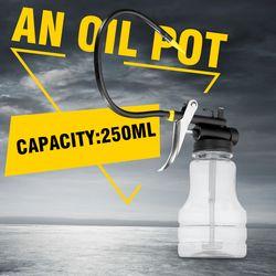 New 250cc Transparent High Pressure Pump Oiler Lubrication Oil Can Plastic Machine Oiler Grease 245mm Length flex Gun