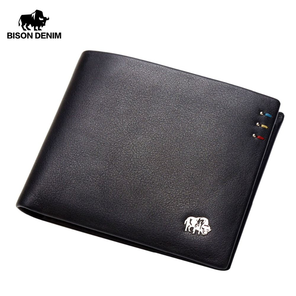 BISON DENIM Business Casual Wallet Men Top <font><b>Layer</b></font> Genuine leather Purses Men Short Wallets Metal Brand Logo Slim Wallet N4411-3B