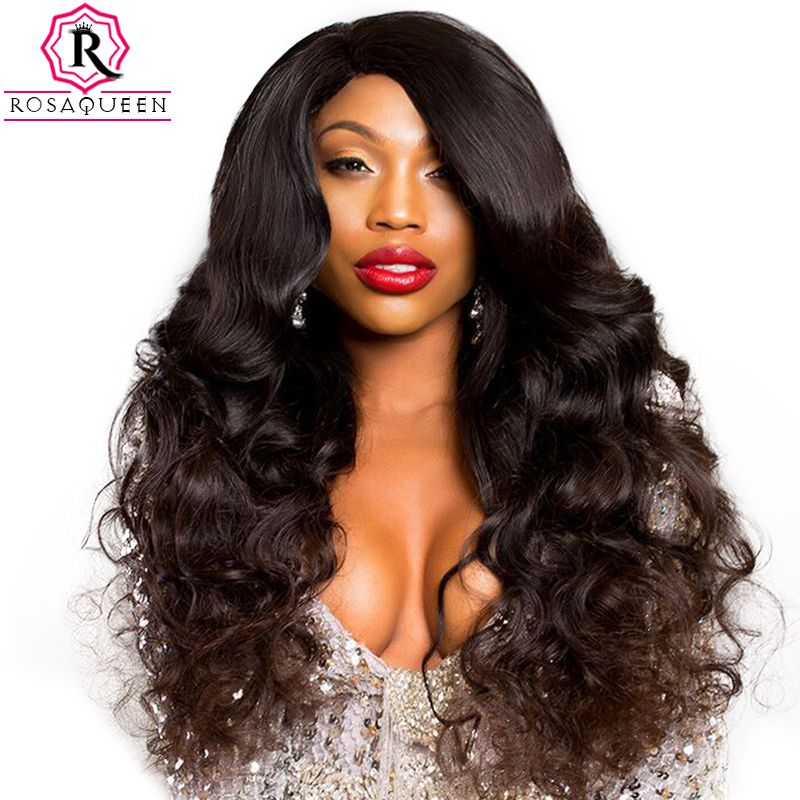 250% Density Lace Front Human Hair Wigs For Women Pre Plucked With Baby Hair Black Body Wave Brazilian Lace Wig Rosa Queen Remy