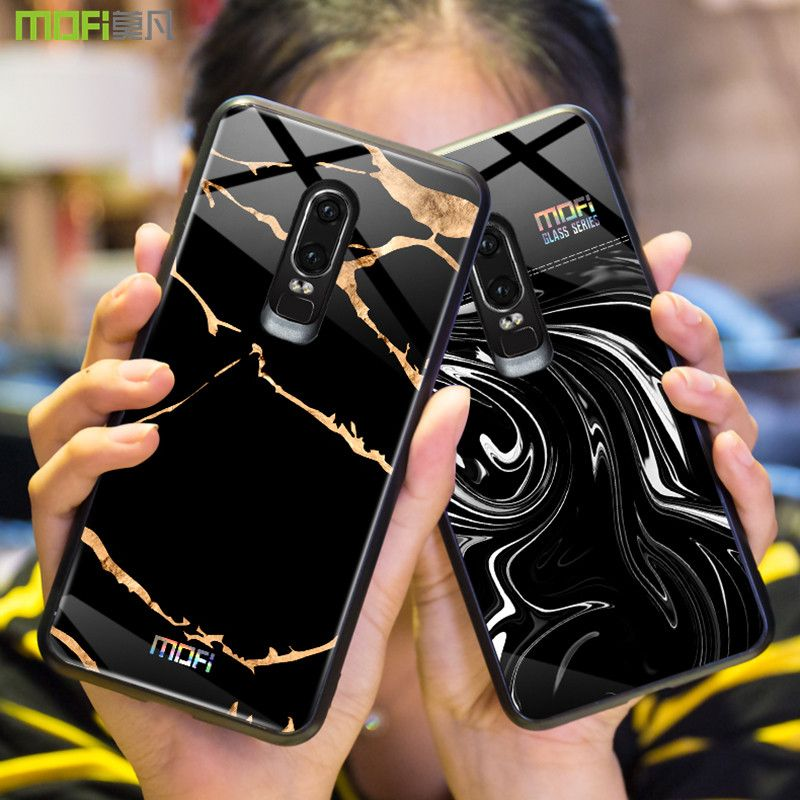 Oneplus 6 case Mofi one plus 6 case cover tempered glass back cover hard marble grain black white oneplus 6 cover flow wave6.28