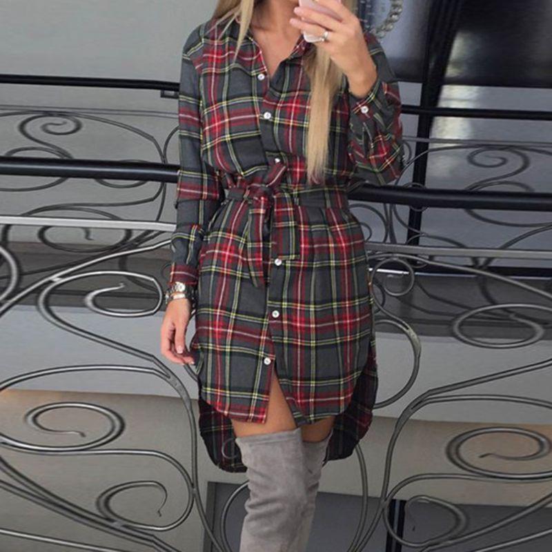 Mode Femmes Blouses À Manches Longues Chemises À Carreaux Col Rabattu Chemise Casual Dames Tops Tunique Féminine Irrégulière Blouses LJ5932