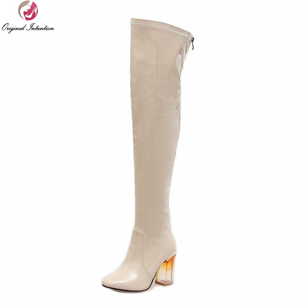 Original Intention Sexy Women Over the Knee Boots Nice Square Toe Square Heels Boots Black Beige Shoes Woman US Size 4-10.5