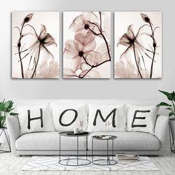 3 шт. прозрачная продажа на открытом рынке цветы холст картина Современное украшение дома гостиная или спальня печать Картина Настенная кар...