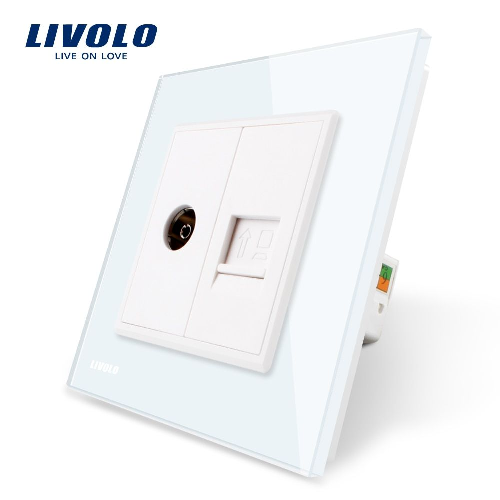 Manufacture Livolo, White Crystal Glass Panel, 2 Gangs Wall Computer and TV Socket / Outlet VL-C791VC-11, Without Plug adapter