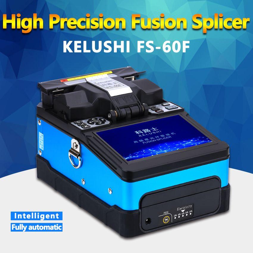 KELUSHI FTTH Automatische Optische Faser Fusion Splicer Maschine FS-60F Fiber Optic Splicers Schweißen Spleißen Maschine blau
