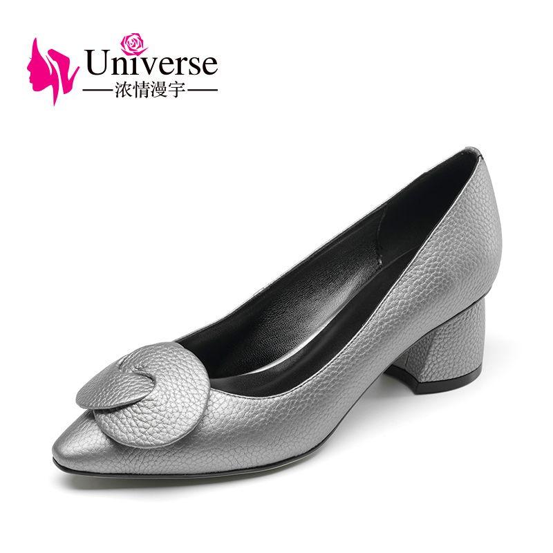 Вселенная 2017 Женская обувь Пояса из натуральной кожи элегантный острый носок с открытым носком толстый каблук Обувь G028
