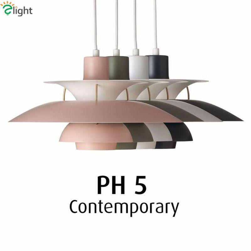 Painted Metal Louis Poulsen PH5 Led Pendant Light Colorful Dia50cm Umbrella Design Dining Room Bar Pendant Light