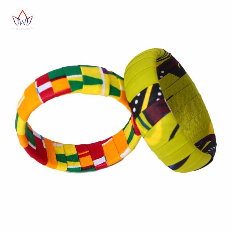 2019 BRW tout nouveau grand Ankara Kente fait à la main bracelets tissu imprimé africain recouvert de bois bracelets WYA06