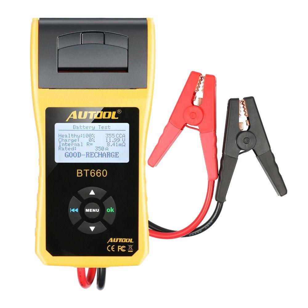 AUTOOL BT660 Auto Batterie Tester mit Drucker BT660 Batterie Analyzer für Überflutet CCA AGM GEL EFB Erkennen Schlechte Batterie Zelle