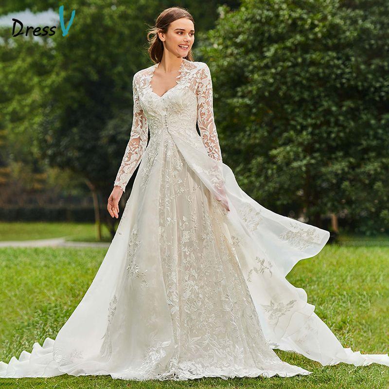 Dressv Long Wedding Dresses Long Sleeves A Line V Neck Court Train Lace Two Pieces Elegant Church Garden Custom Wedding Dresses