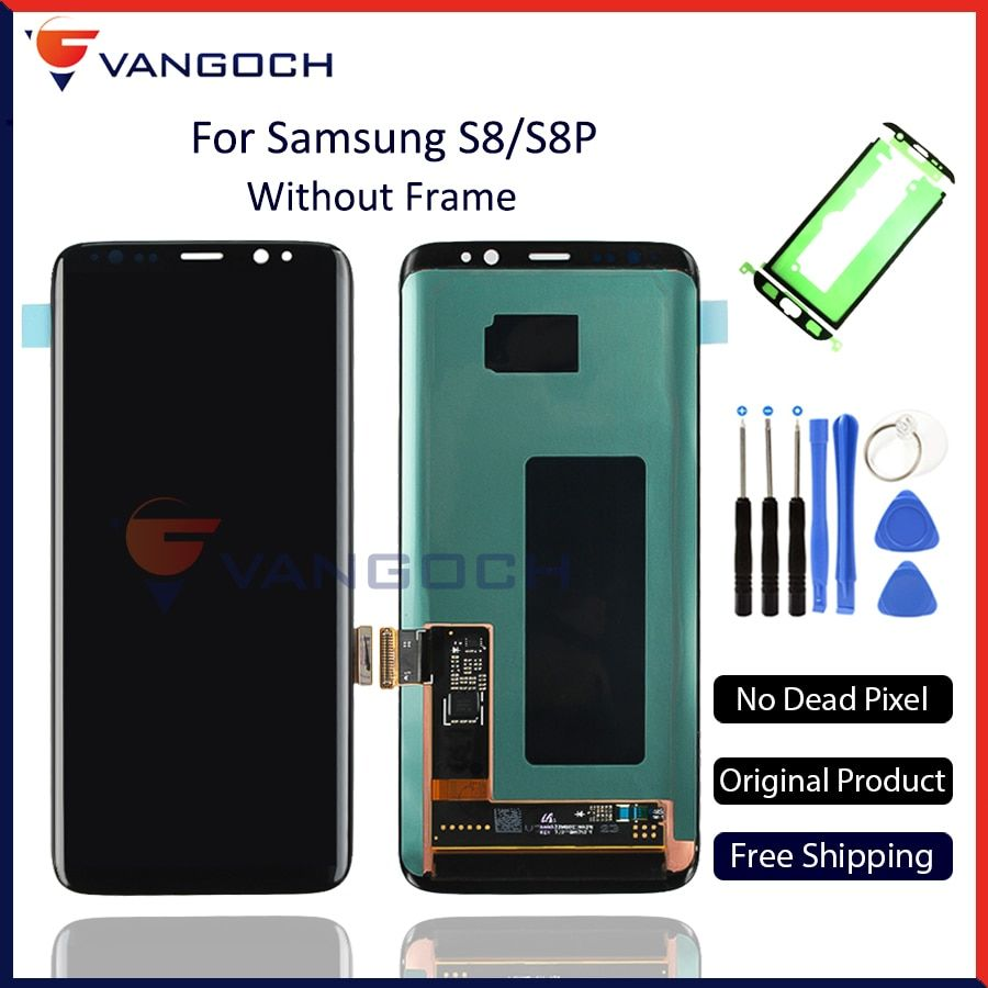 100% Original Super Amoled LCD Screen for Samsung Galaxy S8 Display G950 S8 Plus G955 Assembly Replacement with adhesives&tools