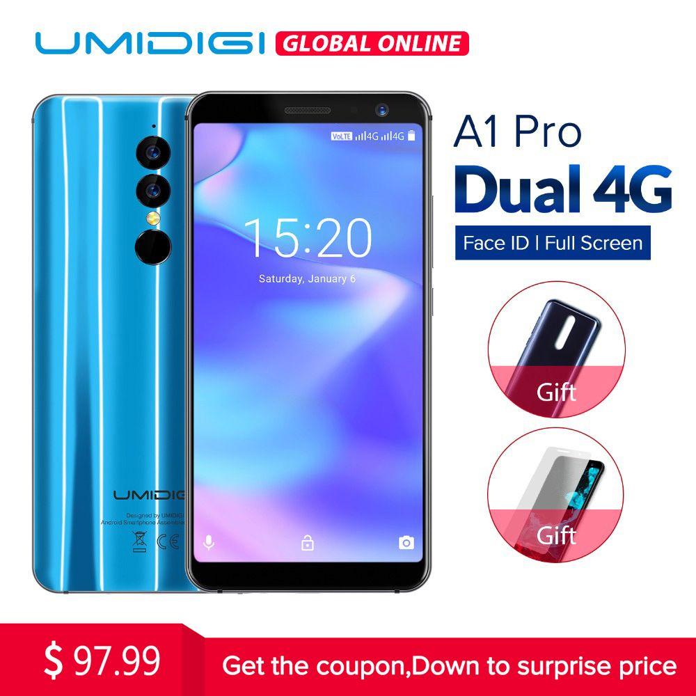 Umidigi A1 Mondiale Pro Version Double 4g LAISSER Smartphone 18:9 Plein Écran 3 gb + 16 gb 3150 mah android 8.1 Visage ID 13MP MT6739 Téléphone Portable